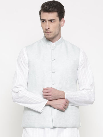 Blue White Linen Jacket - MMWC098