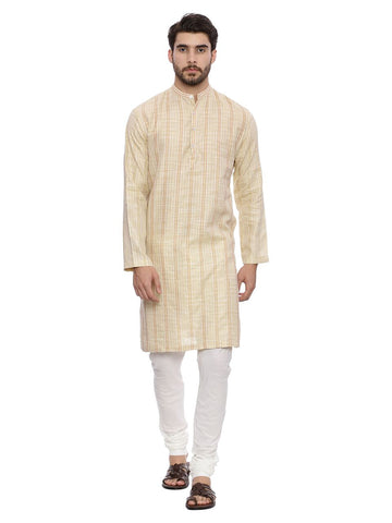 Beige Self weave Kurta Set - MMK0123