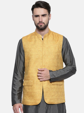Yellow Linen Jaquard Jacket - MMWC0123