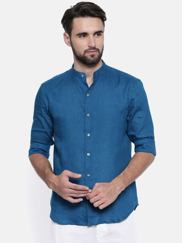 Blue Linen Chinese Collar Shirt - MM0697
