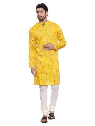 Yellow Self Weave Long Kurta Set - MMK0125