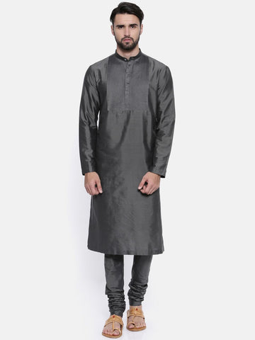 Charcoal Grey  Cotton Silk Kurta Set - MMK0161