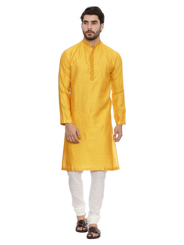 Yellow Jaquard Kurta Set - MMK0130