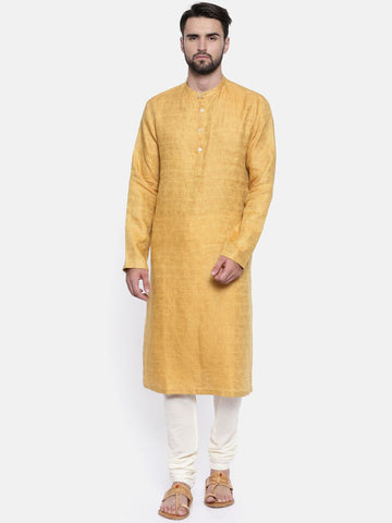 Linen Jaquard Yellow Kurta Set - MMK0158