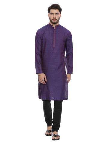Purple Jaquard Kurta Set - MMK0131