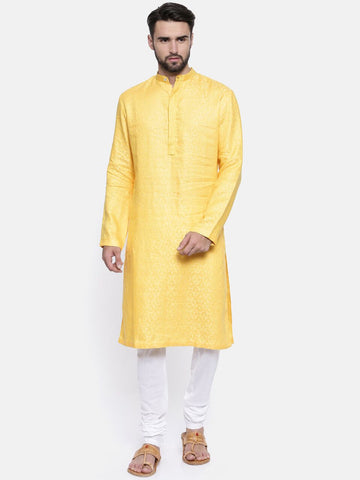 Yellow Linen Kurta Set - MMK0150