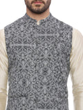 Linen Digital Printed Nehru Jacket- MMWC072