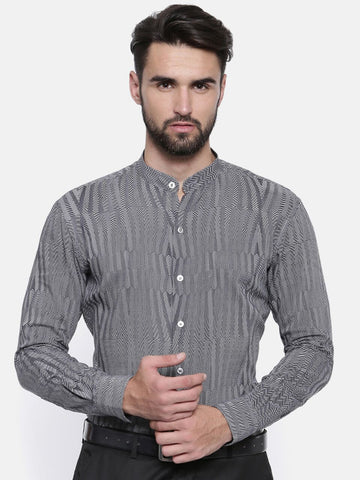 Geometric Strip Linen Shirt - MM0696