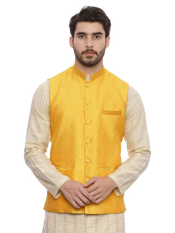 Yellow Silk Cotton Jaquard Nehru Jacket - MMWC076