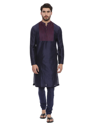 Navy Blue Silk Blend Kurta Set - MMK0126