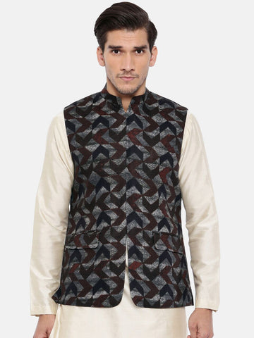 Brown/Blue Linen Geometric Print Modi Jacket - MMWC0127