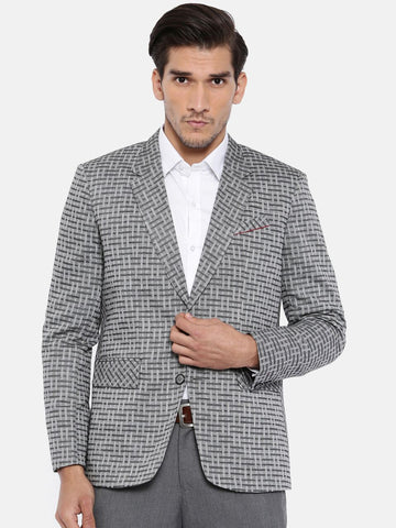 Two Button Geometric Weave Grey Blazer - MMJ024