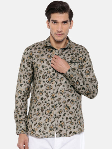Linen Printed Retro Party Shirt - MM0701