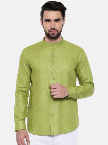 Green Linen Shirt - MM0699