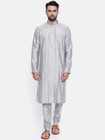 Silver Grey Cotton Silk Kurta Set - MMK0160