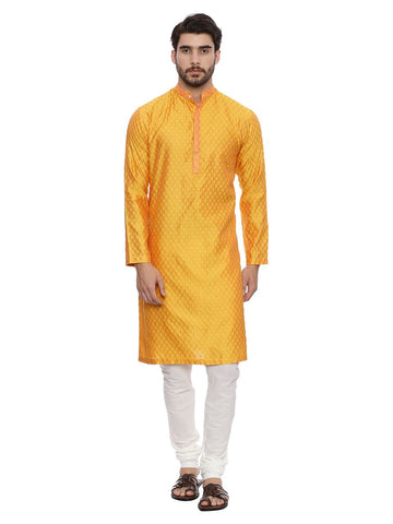 Yellow Jaquard Kurta Set - MMK0132