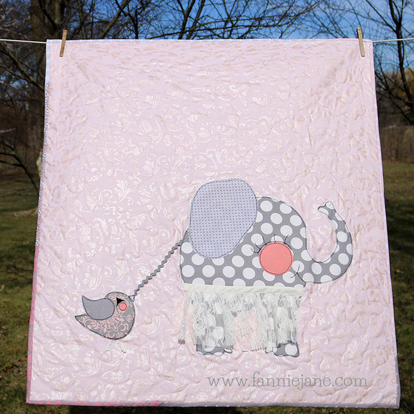 handmade baby quilt/wallhanging elephant with tutu
