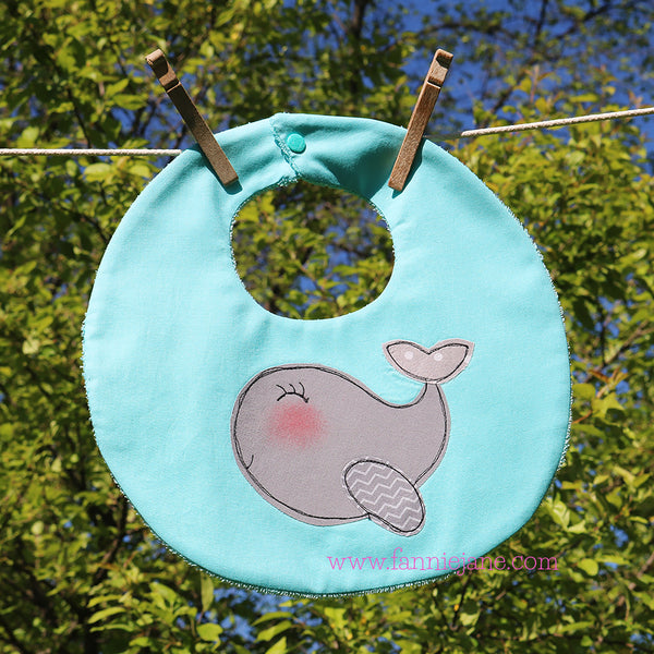 Baby whale bib sewing pattern PDF