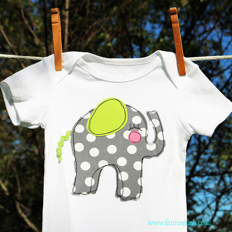 handmade baby elephant onesie/snap bottom t-shirt