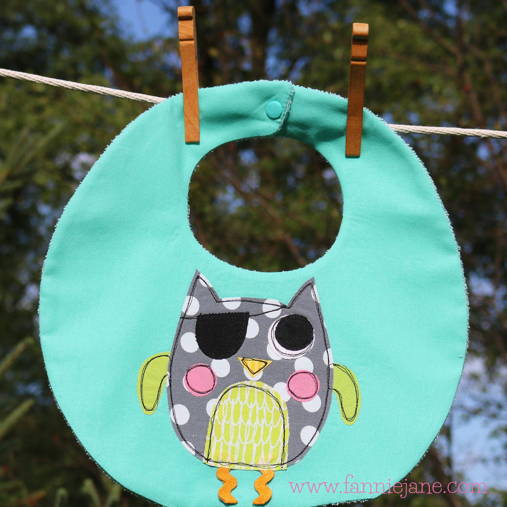 Handmade baby boy pirate owl bib