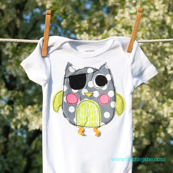 Pirate owl snap bottom baby t-shirt