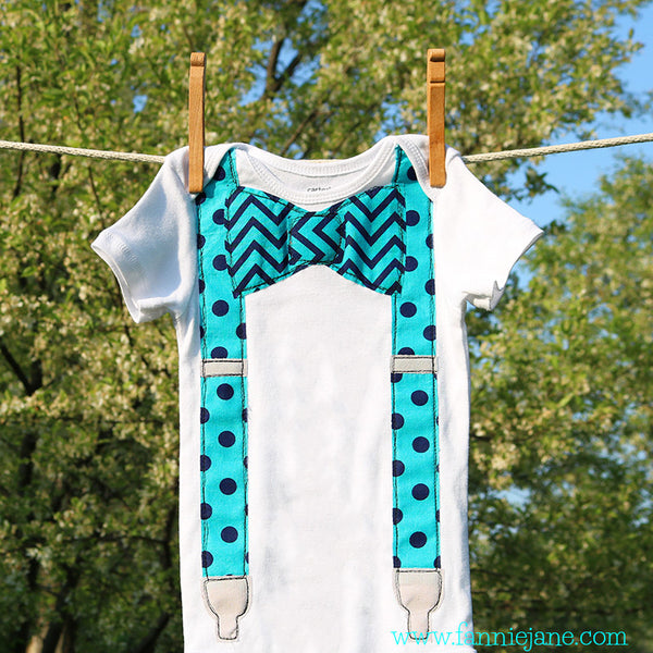 handmade baby boy suspender and bow tie onesie