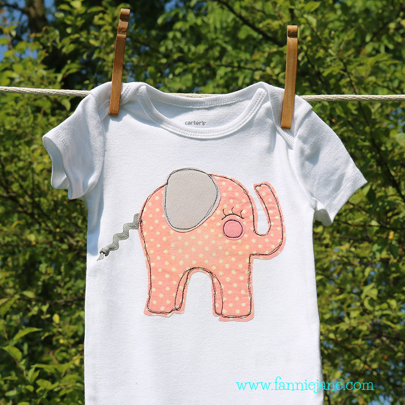 handmade baby elephant onesie/ snap bottom t-shirt for girls