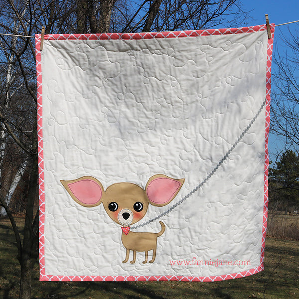 handmade baby quilt/wallhanging chihuahua dog