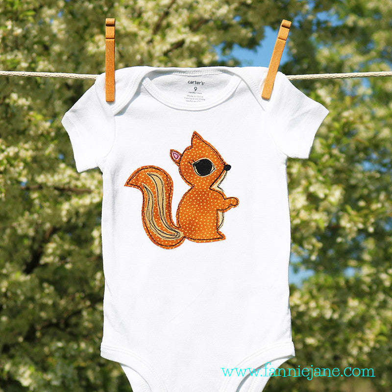 Handmade baby squirrel onesie/snap bottom t-shirt