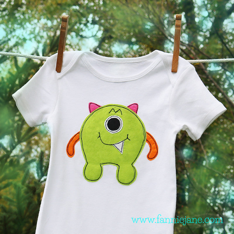 Monster boy baby onesie sewing pattern PDF