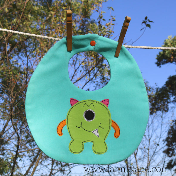 Handmade monster boy bib