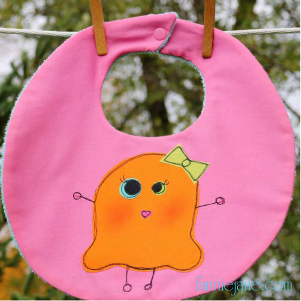 Monster girl baby bib sewing pattern PDF