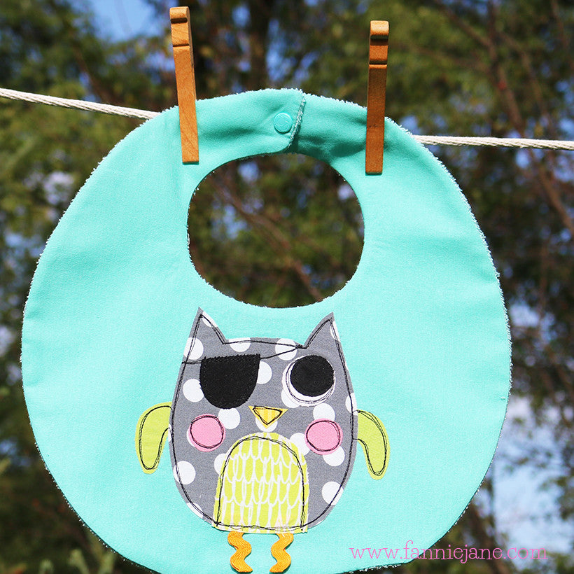 pirate owl baby bib sewing pattern PDF