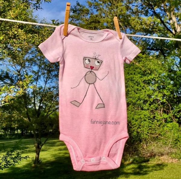 Rosie Robot onesie - ombre dyed in rose pink