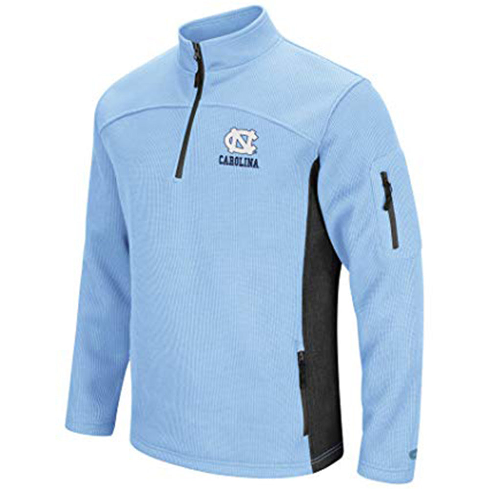 North Carolina Coliseum Tar Heels Mens Advantage Quarter Zip Closure Pullover, Carolina Blue - AtlanticCoastSports