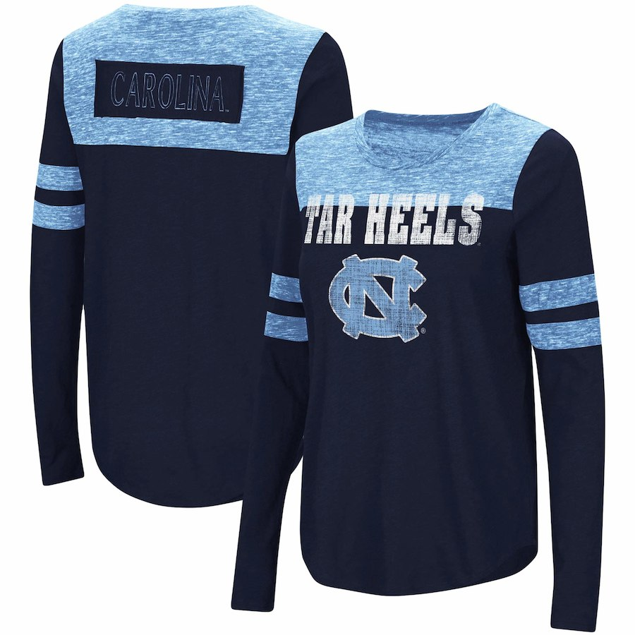 North Carolina Tar Heels Colosseum Women's My Way Striped Long Sleeve T-Shirt - Navy/Carolina Blue - AtlanticCoastSports