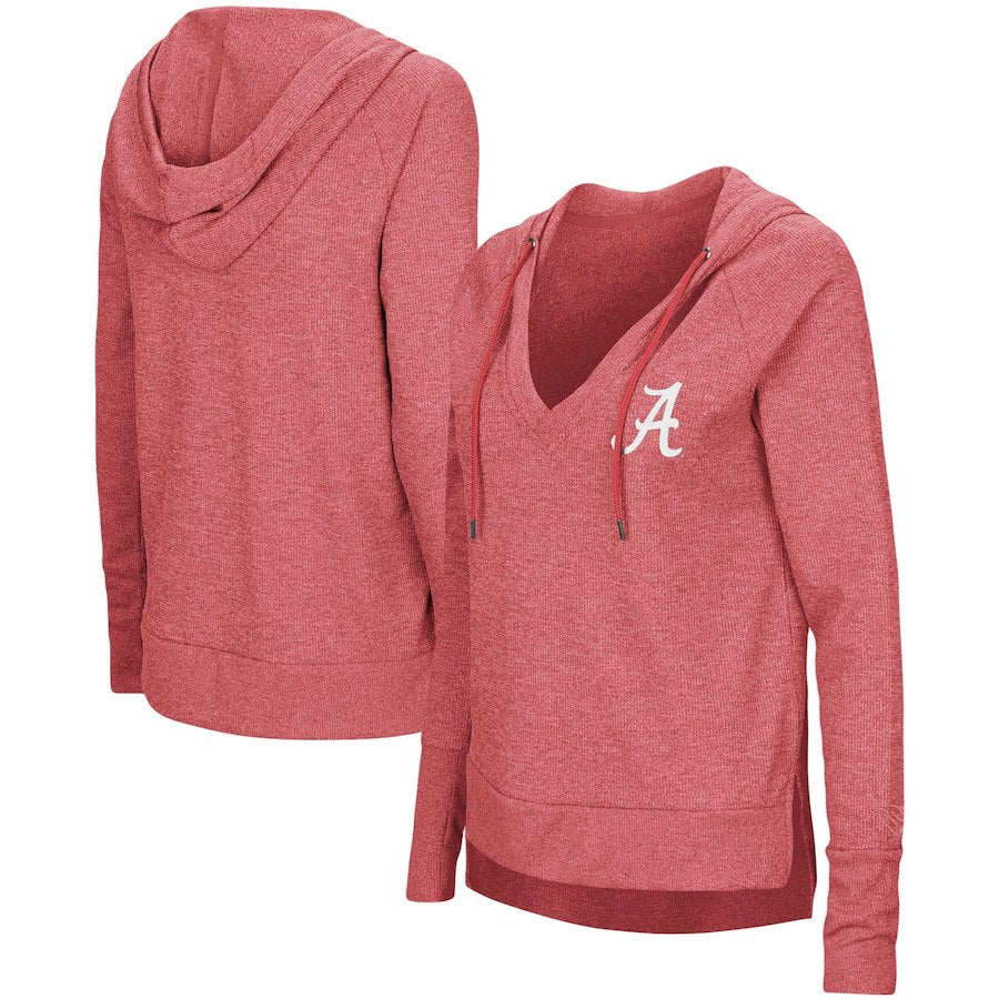Alabama Crimson Tide Colosseum Women's Never Doubt V-Neck Hooded Thermal T-Shirt - Crimson - AtlanticCoastSports
