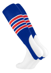 Baseball Stirrups by Pattern D 3 Stripe with Featheredge Royal Scarlet White Large 14+ yrs old - AtlanticCoastSports