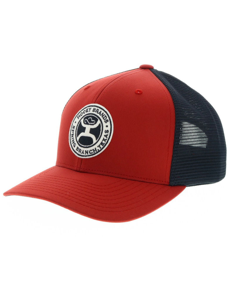 HOOEY Men's Circle Guadalupe Patch Red Trucker Cap - AtlanticCoastSports