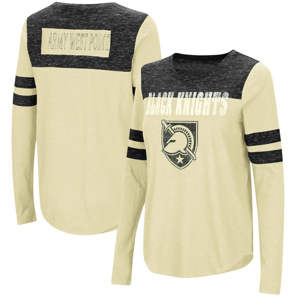 Army Black Knights Colosseum Women's My Way Striped Long Sleeve T-Shirt - Gold/Black - AtlanticCoastSports