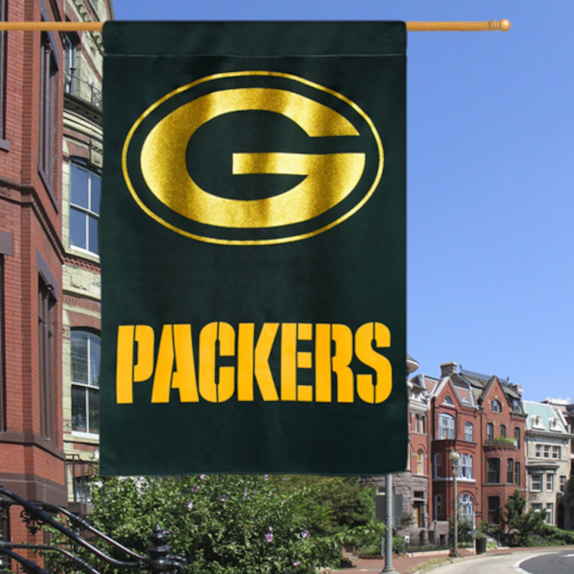 "Green Bay Packers 29"" x 43"" Glitter Suede House Two-Sided Vertical Flag - AtlanticCoastSports"