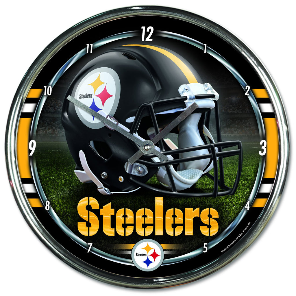 Pittsburgh Steelers Chrome Plated Clock - AtlanticCoastSports