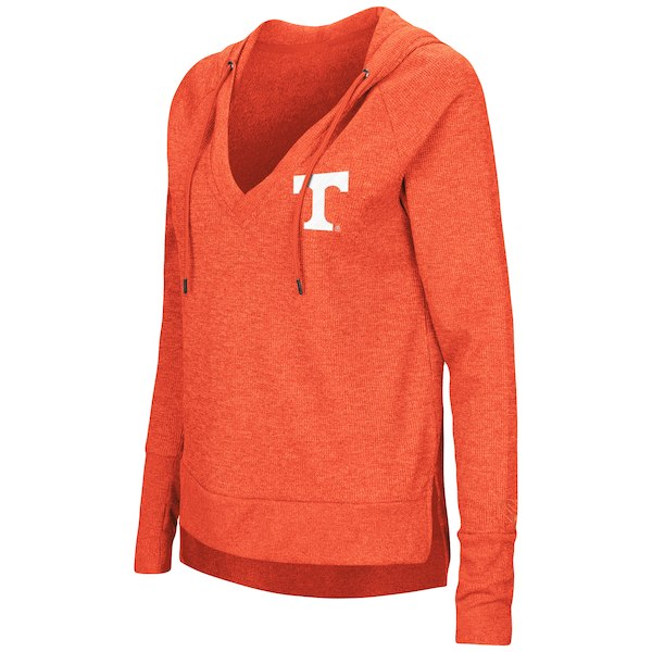 Women's Colosseum Tennessee Orange Never Doubt V-Neck Hooded Thermal