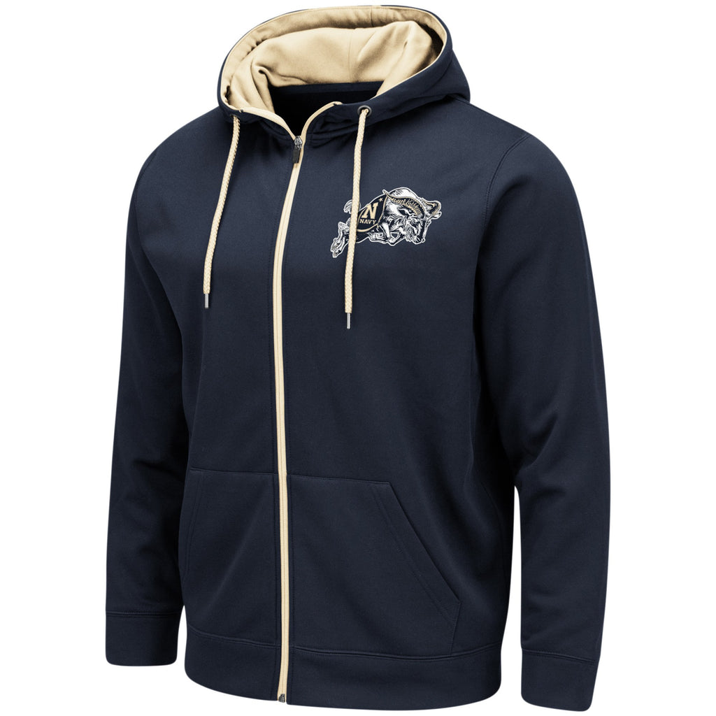 Navy Midshipmen Colosseum Performance Full-Zip Hoodie – Navy - AtlanticCoastSports