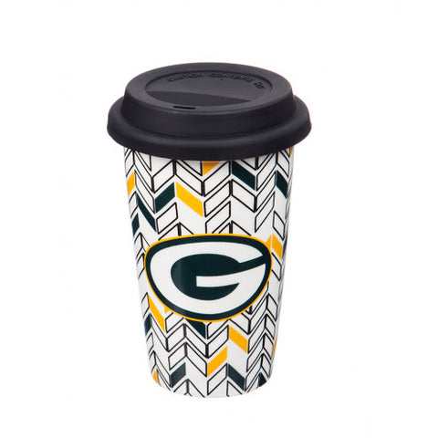 Just Add Color® Green Bay Packers Chevron Double-Wall Travel Cup - AtlanticCoastSports