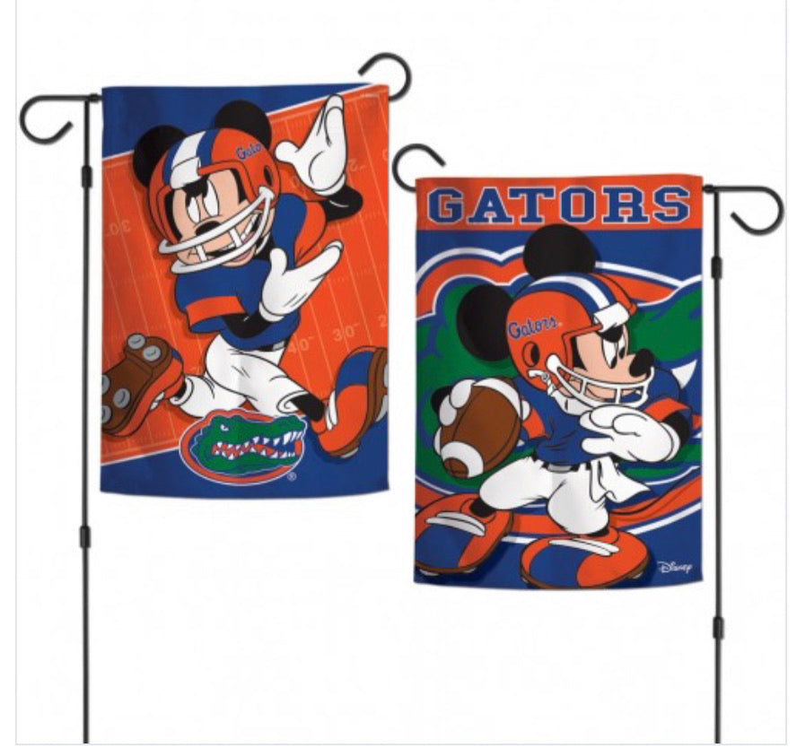 "Florida Gators Mickey Mouse 2 Sided Garden Flag 12.5"" X 18"""