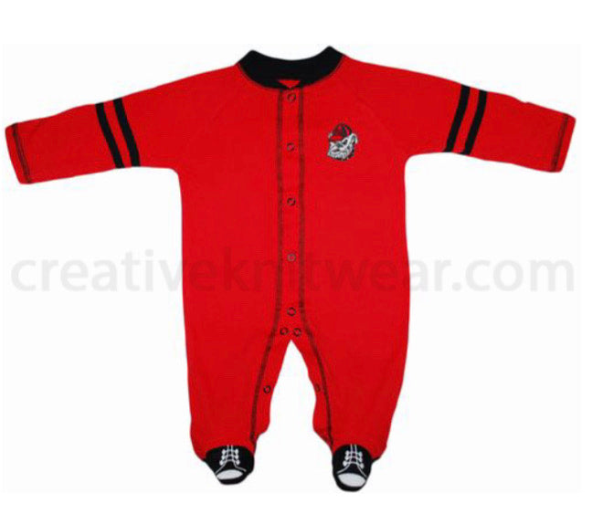 Georgia Bulldogs Sports Shoe Footed Romper
