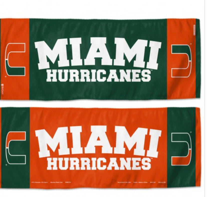 "Miami Hurricanes Cooling Towel 12""X30"""