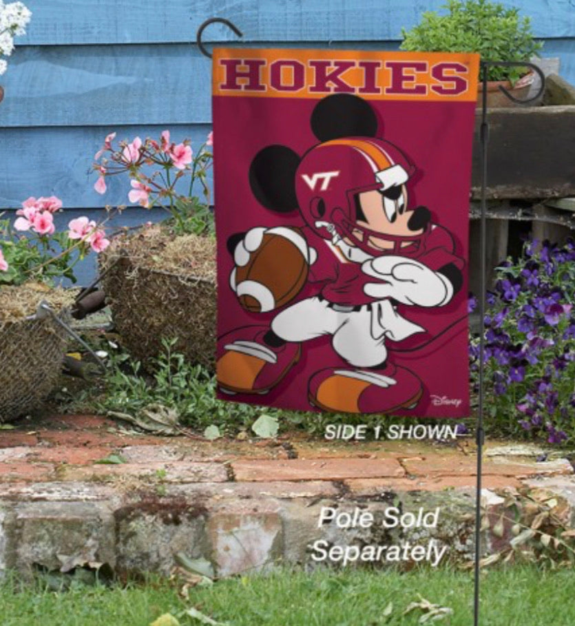 "Virginia Tech Mickey Mouse 2 Sided Garden Flag 12.5"" X 18"""