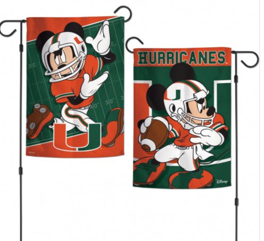 "Miami Hurricanes Mickey Mouse 2 Sided Garden Flag 12.5"" X 18"""